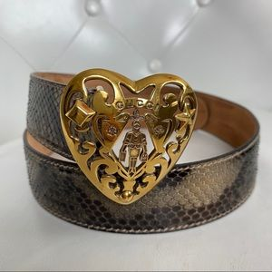 GUCCI Hysteria Snakeskin Gold-Tone Heart Buckle